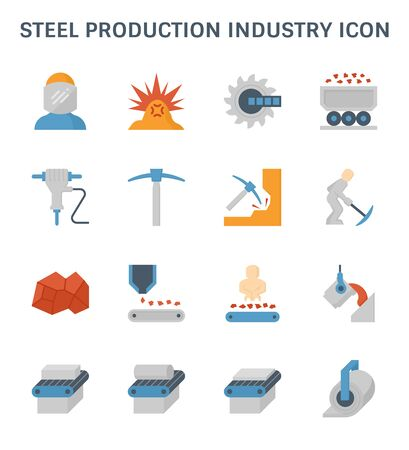 Steel production and metallurgy industry icon set.