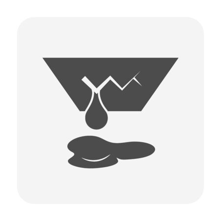 Ceiling damage and water leak vector icon design for home problem graphic design element.