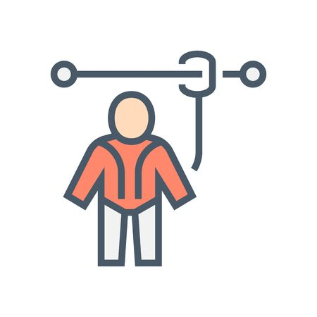 Safety harness or safety equipment vector icon design, 64x64 pixel perfect and editable stroke.