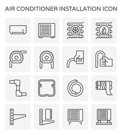 Air conditioner installation and copper pipe vector icon set design, editable stroke.