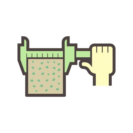 Concrete specimen size measure for material testing work vector icon design.