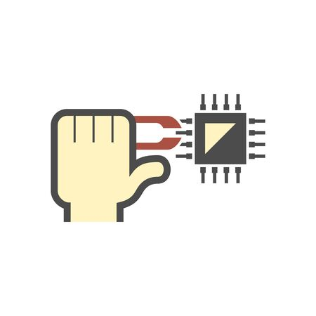 Microchip for computer and testing work vector  icon design on white.