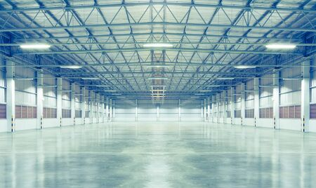 Factory background with concrete floor, night scence.