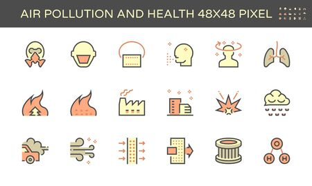 Air pollution and health vector icon set design, 48x48 pixel perfect and editable stroke. Stock Illustratie
