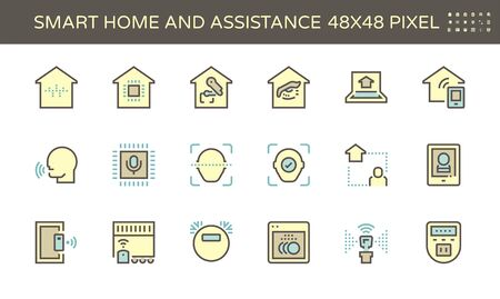 Smart homes and voice activated personal assistants vector icon set design, 48X48 pixel perfect and editable stroke.