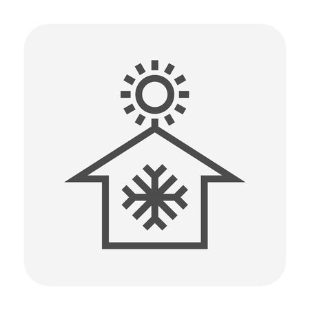 Air conditioner and home vector icon design. Illustration