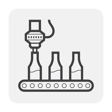 Robot hand and bottle icon, black color.