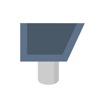 Roof gutter vector icon design on white background for drainage system graphic design element.