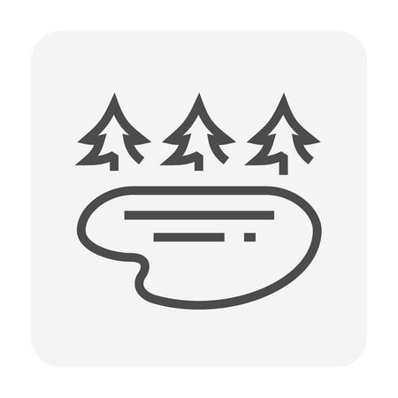 Water source and tree vector icon design, editable stroke.