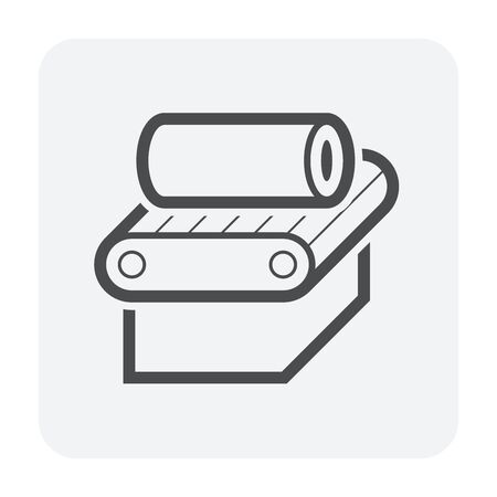 Steel pipe and production line vector icon design on white background. Vettoriali