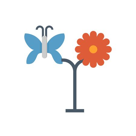 Flower and butterfly vector icon design for gardening graphic design element.