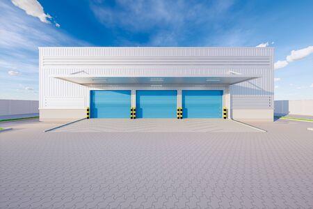 3d rendering of warehouse building and shutter door for industrial background.