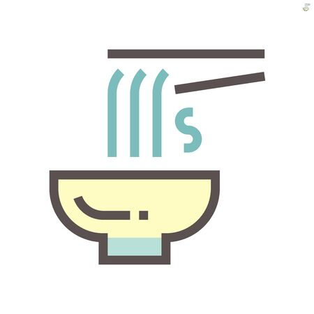 Noodle in bowl vector icon design for food graphic design element work.,  48X48 pixel perfect and editable stroke.  イラスト・ベクター素材
