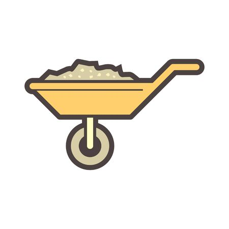 Wheelbarrow and concrete inside vector icon design. Stock Illustratie