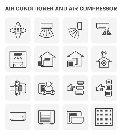 Air conditioner and air compressor vector icon set design.