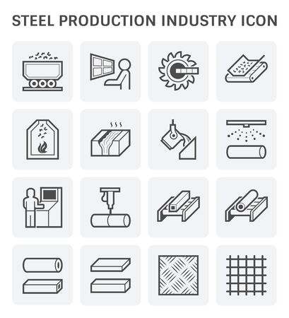 Steel production and metallurgy industry icon set. Vecteurs