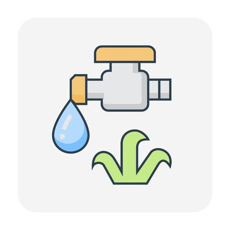 Automatic water sprinkler icon for agricultural work, editable stroke. 일러스트