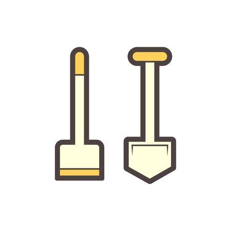 Hoe or soil excavation equipment vector icon design.