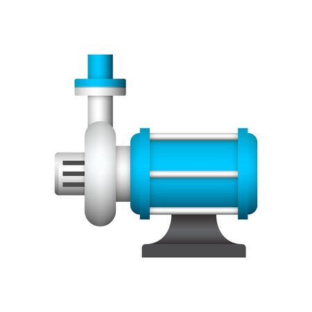 Electric water pump and steel pipe for water distribution icon design.
