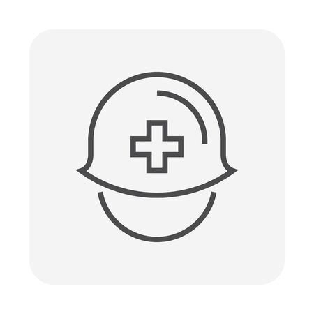 Safety helmet or safety equipment  vector icon design, 64x64 pixel perfect and editable stroke.