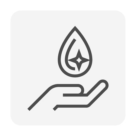 Clean water drop and hand icon design, water treatment and purification concept design, editable stroke.
