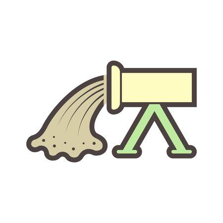 Concrete pouring and pipe vector icon design.