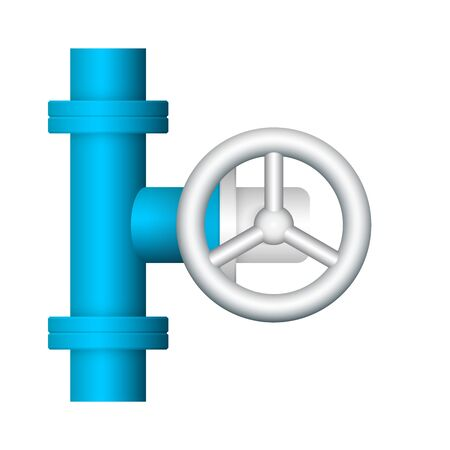 Steel pipe connector and valve icon design isolated on white bakcground. Ilustrace