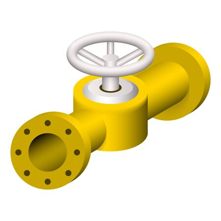Steel pipe connector and valve icon set.