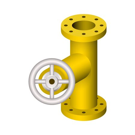 Steel pipe connector and valve icon set. Ilustrace
