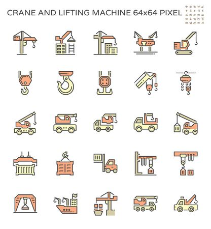 Crane and lifting machine icon set, 64x64 pixel perfect and editable stroke.