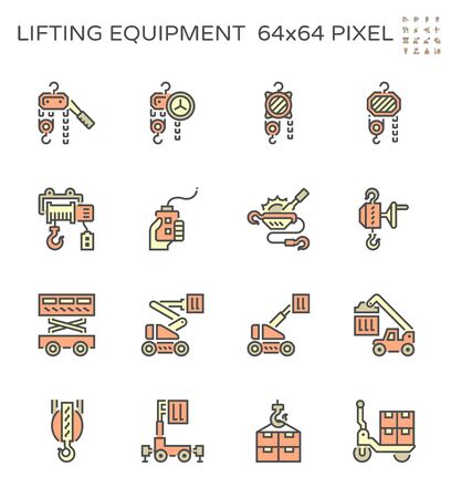 Winch and lifting equipment vector icon set, 64x64 pixel perfect and editable strok Vektoros illusztráció