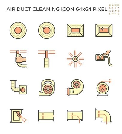 Air duct pipe and cleaning work icon set, 64x64 perfect pixel and editable stroke . Vetores