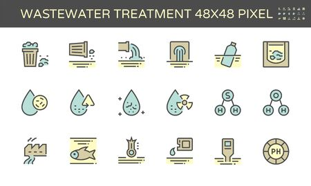 Wastewater and water treatment vector icon set, 48x48 pixel perfect and editable stroke.