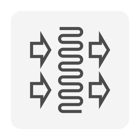 Air conditioner coil part icon design, editable stroke.