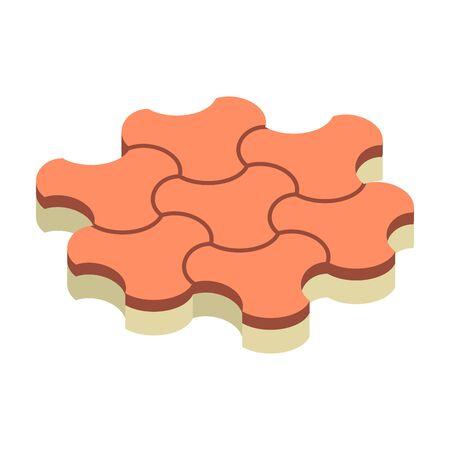 Concrete paver block brick floor icon for landscaping design. Ilustracja