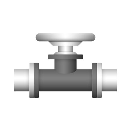 Steel pipe connector and valve icon design isolated on white bakcground.