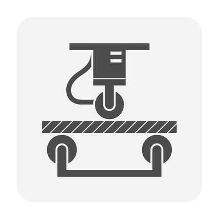 Wood floor bending strength  testing vector icon design for wood testing industrial graphic design element.