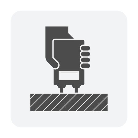 Wood floor material moisture testing vector icon design for wood testing industrial graphic design element.
