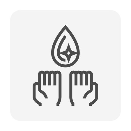 Clean water drop and  hand icon design,  water treatment and purification concept design, editable stroke. Ilustração