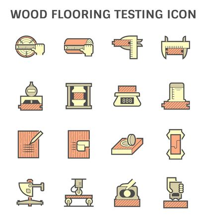 Wood flooring material testing vector icon set design.