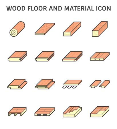 Wood floor and material for interior decoration vector icon set design.