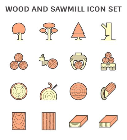 Wood and sawmill industry vector icon set design.