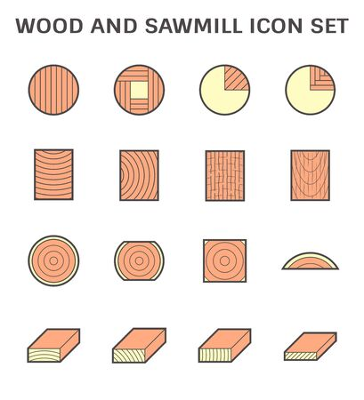 Wood cutting work and sawmill industry vector icon set design.