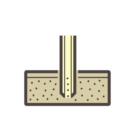 Soil and soil testing vector icon design on white. Vetores