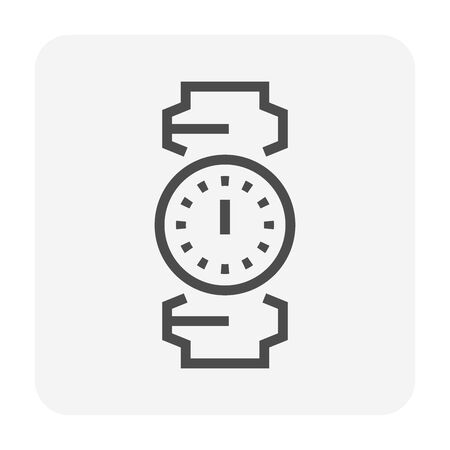 Pipe and meter icon design for plumbing concept design, editable stroke.