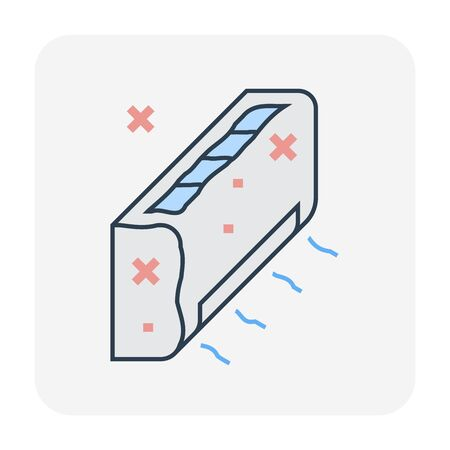 Air conditioner dirty condition icon, editable stroke.