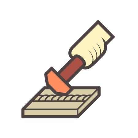Welding joint and hammer vector icon design. Stock Illustratie