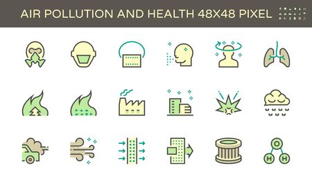 Air pollution and health vector icon set design, 48x48 pixel perfect and editable stroke.  イラスト・ベクター素材