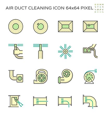 Air duct pipe and cleaning work icon set, 64x64 perfect pixel and editable stroke .