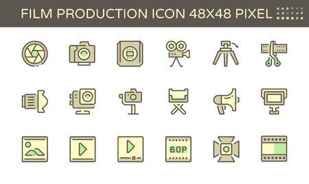 Film and film production vector icon design, 48X48 pixel perfect and editable stroke. Ilustração